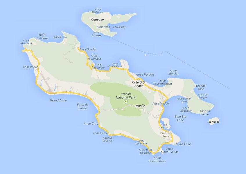 Praslin - die 2. größte Insel auf den Seychellen (Bild: Google Maps)