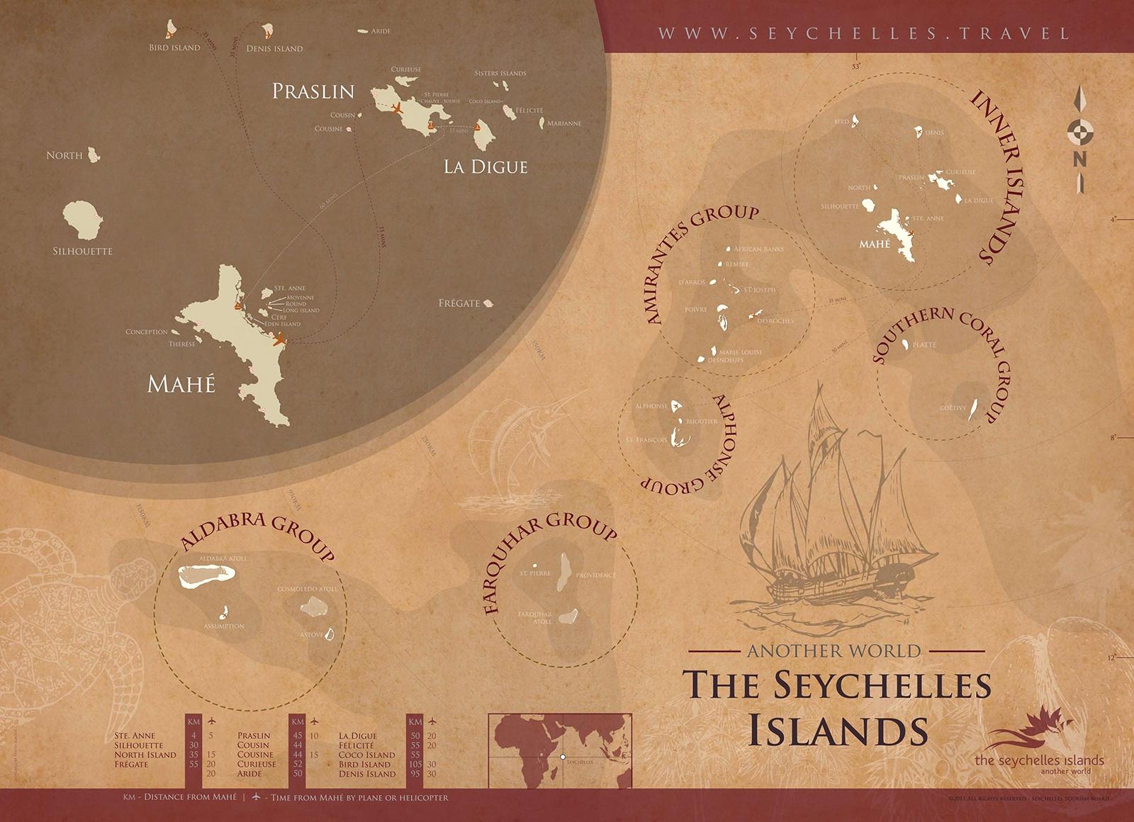 """© Die Karte ist von """"Seychelles.Travel"""", der offiziellen Destinationswebsite der Seychellen."""