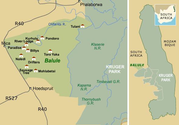 Südafrika, Balule Map