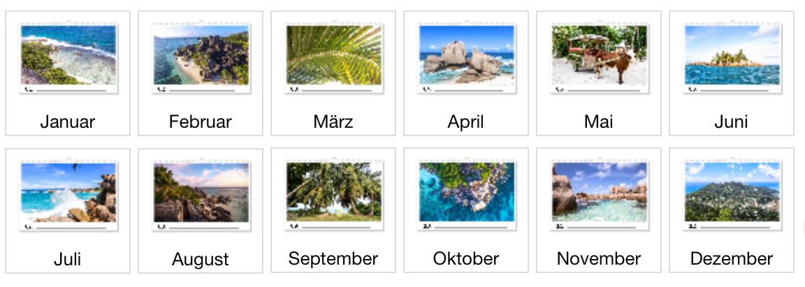Seychellen Fotokalender 2017 Übersicht, alle Monate
