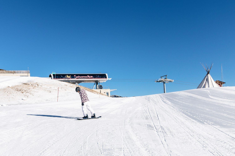 Snowboarden im Skigebiet Schwemmalm Ultental