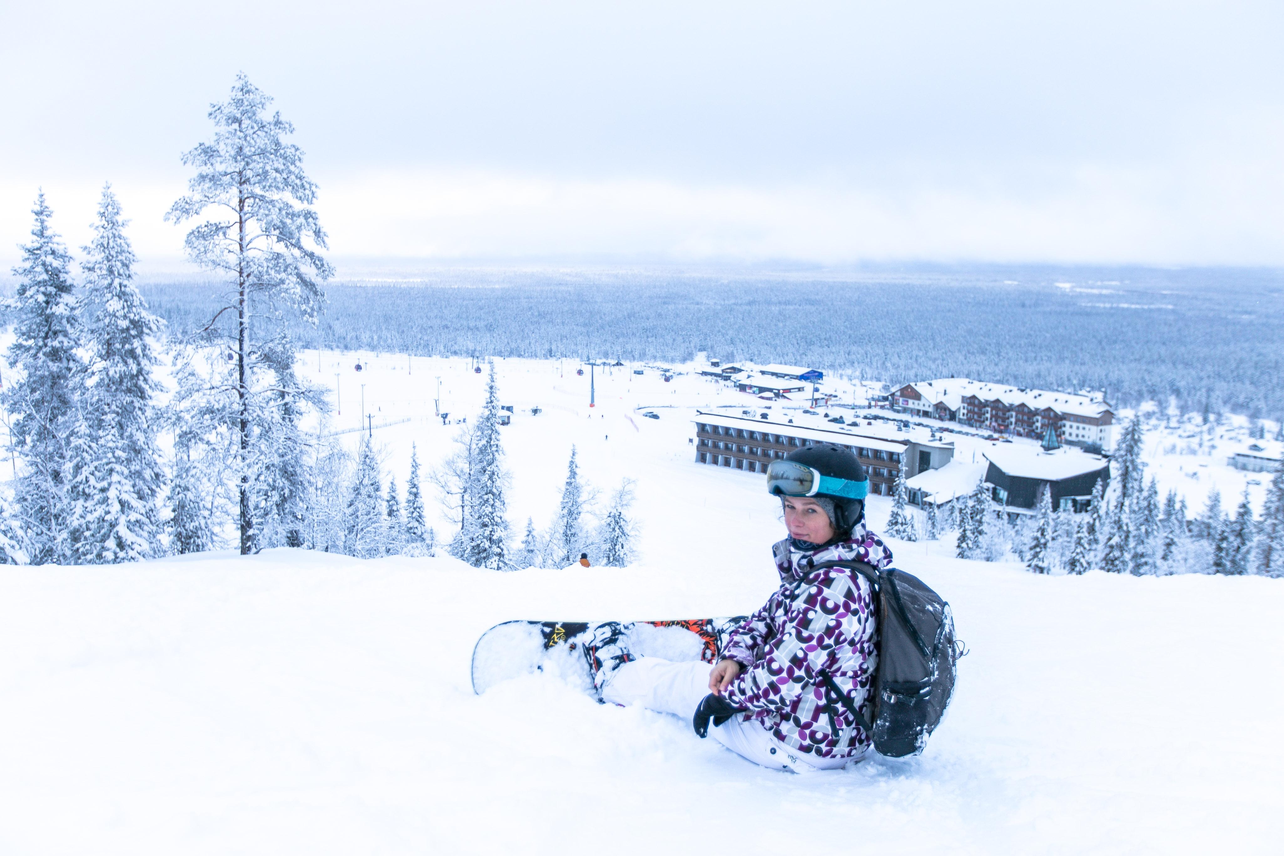 Snowboarden Finnland, Lappland, Skigebiet Yllläs