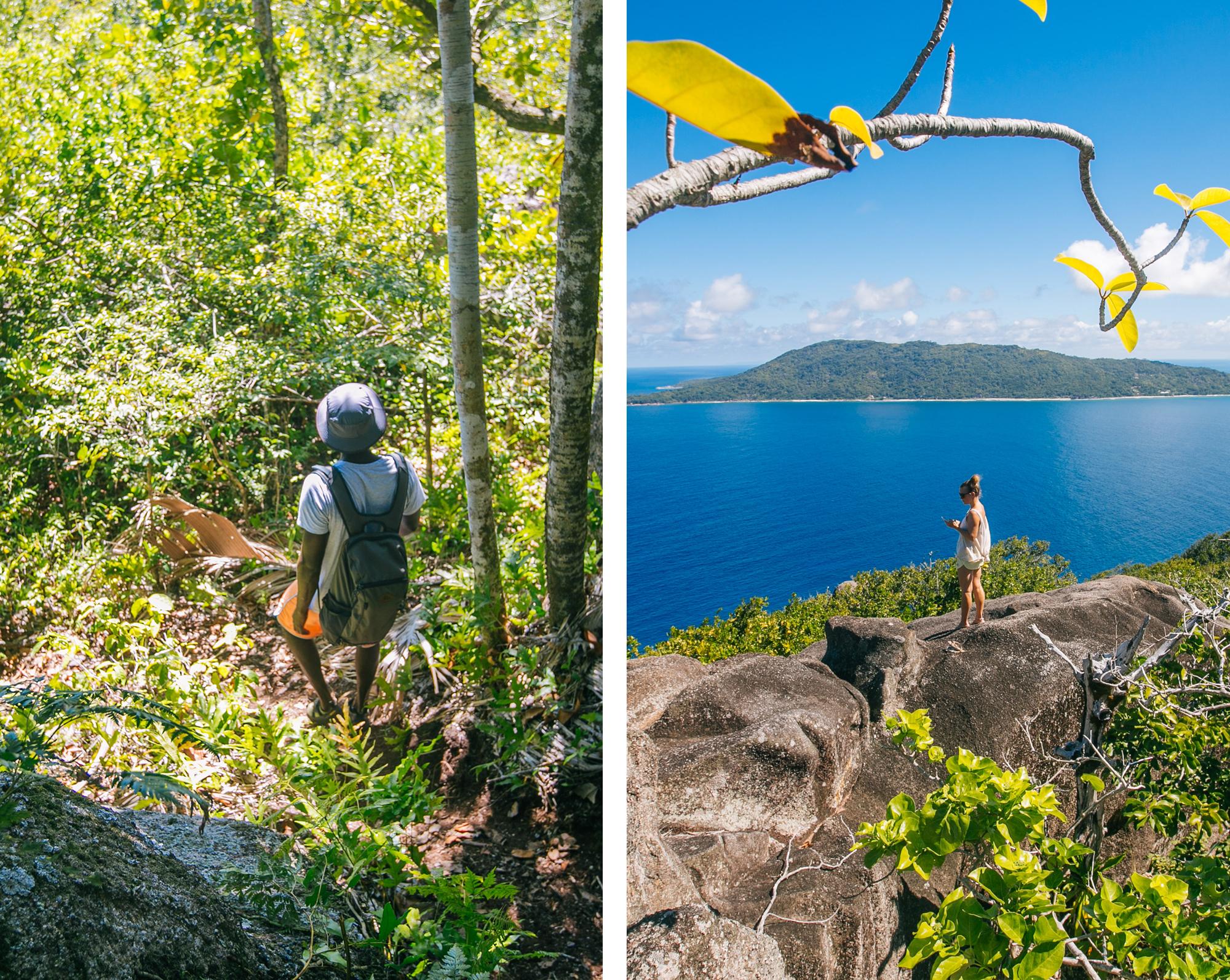 klettern und wandern auf félicité island, seychellen