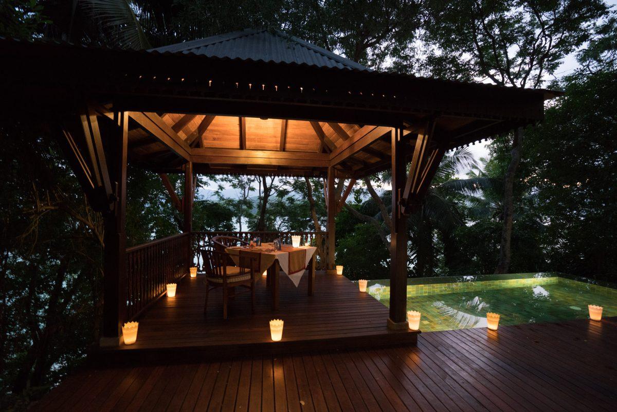 enchanted island resort, in villa dining